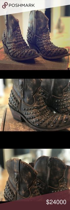 Liberty Boot Studded Vintage Canela Size 9 Wore these one time, I am typically an 8 and bought these because I like for my boots to slide on my heel but these slide too much. They are adorable and so well made! The box says black, they are dark brown Liberty Shoes Ankle Boots & Booties