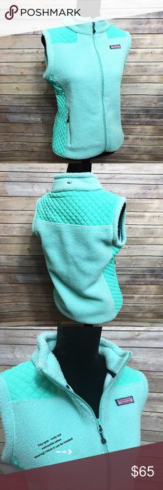 Vineyard Vines   Teal Quilted Vest Worn once. Fleece teal vest. Women's size small. Tiny spot on the chest, I'm pretty sure it can be treated. Excellent condition! Open to reasonable offers! Vineyard Vines Jackets & Coats Vests