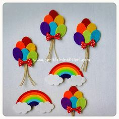 peri kızının el işleri: Gökkuşağı magnet ve balon magnet Felt Diy, Felt Crafts, Diy And Crafts, Crafts For Kids, Arts And Crafts, Paper Crafts, Felt Flowers, Paper Flowers, Diy Y Manualidades