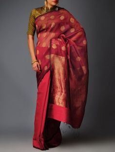 Maroon-Black Silk Jamdani Saree by BaiLou