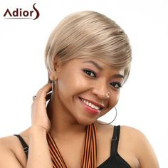 Fashion Side Bang Blonde Mixed Brown Elegant Short Straight Women's SyntheticWig