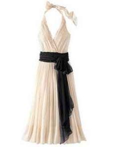 I think this would make a gorgeous Bridesmaids dress. I'd even like it if the colors were reversed, black with a cream sash. I think this is a dress a bridesmaid really could wear again and it seems to me the cut would be flattering on any body type.