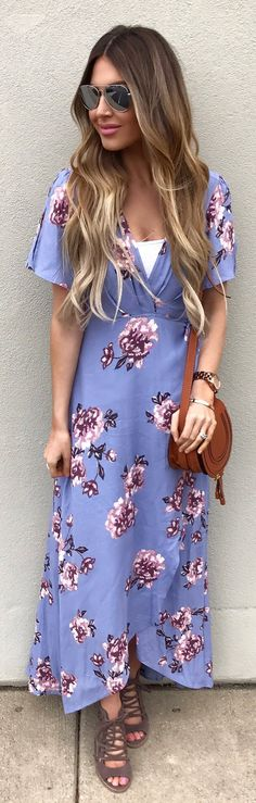 #cute #outfits  Purple Flower Printed Maxi Dress / Brown Leather Shoulder Bag