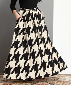 Look what I found on #zulily! Black & White Houndstooth Maxi Skirt - Plus by Reborn Collection #zulilyfinds