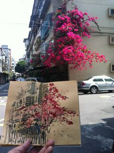 Urban Sketchers Taiwan. Love how minimal the building looks