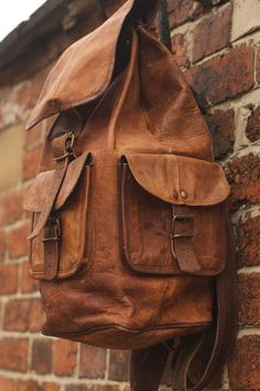 Tanned Leather Rucksack Leather Backpack HIking Backpack Travel / school backpack Laptop backpack by Backpack99 on Etsy https://www.etsy.com/listing/220541340/tanned-leather-rucksack-leather-backpack