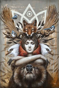 Kwanita Art Print by Sophie Wilkins - totem, bear, fish, bird,woman You are in the right place about Kwanita Art Print by sophiewilkins Ta - Art And Illustration, Native Art, Native American Art, Fantasy Kunst, Fantasy Art, Shaman Woman, Art Visionnaire, Animal Spirit Guides, Witches