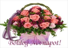 Basket of roses Flower Basket, Flower Boxes, Flowers Gif, Pretty Roses, Morning Flowers, Beautiful Gif, Happy Birthday Images, Painting Patterns, Flower Arrangements