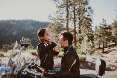 Mountain Engagement Session with Motorcycle
