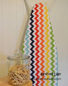 Cute rainbow chevron ironing board cover - perfect for my craft room :)