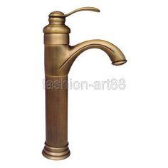 (59.99$)  Watch here  - Vintage Retro Antique Brass Single Lever Handle One Hole Bathroom Vessel Sink Faucet Mixer water Taps aan032
