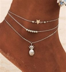 Silver layered anklet with pineapple charm Gold Anklet, Silver Anklets, Beaded Foot Jewelry, Silver Toe Rings, Infinity Charm, Trendy Fashion Jewelry, Feather, Layers, Gold Necklace