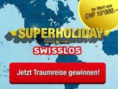 Gewinne mit Swisslos Superholiday eine Traumreise zu deiner Wunschdestination im Wert von 10'000.-!   Versuche hier dein Glück und gewinne: http://www.gratis-schweiz.ch/gewinne-eine-traumreise-im-wert-von-10000-mit-swisslos/  Alle Wettbewerbe: http://www.gratis-schweiz.ch/