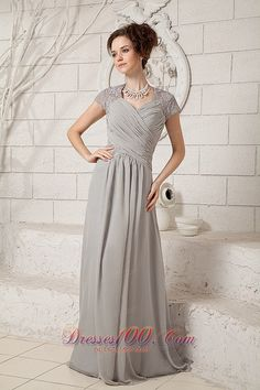 Evening Dresses Silver Lace Short Sleeve Formal Gowns Chiffon Pleated Floor Length Mother Of Bride Dress Evening Dresses With Sleeves, V Neck Prom Dresses, Mob Dresses, Evening Gowns, Bride Dresses, Dresses 2013, Modest Dresses, Formal Dresses, Mother Of Groom Dresses