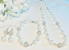 White Pearl & Diamante Jewelry Set Bridesmaid by InfinityByClaire