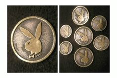 ButtonArtMuseum.com - Playboy Silver Color Metal Iconic Playboy Bunny Logo 7 Blazer Jacket Button Set
