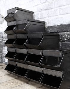 industrial storage. Could I make version of this out of wood and stack them on my shelves? Probably! :)