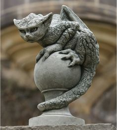 Marvelous Stone Garden Statues #4 Cat Gargoyle Garden Statue ...