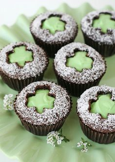 Shamrock Cut-out Cupcakes