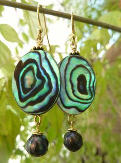 Abalone and Gold Earrings with Peacock by beadifulexpressions, $22.00
