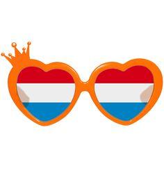 0d6b2fea7d78f1 Mooie oranje bril voor Koningsdag met hartjes montuur voor dames. Oranje  feestbril met hartvormige glazen