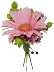 "A Pink Gerbera Daisy accented with Pink Waxflower & fresh Green Berries creates a very trendy boutonniere that matches perfectly with ""Sassy"" Corsage"