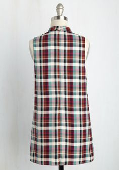 Inspired by the playful nature of this plaid top, you spend the afternoon writing about your favorite characters. With a triangular keyhole beneath its high. Writing About Yourself, Plaid Tunic, Number One, Modcloth, A Line Skirts, Wide Leg Pants, Triangle, Teal, Ivory