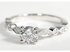 Blue Nile Milgrain Marquise and Dot Diamond Engagement Ring in 14K White Gold