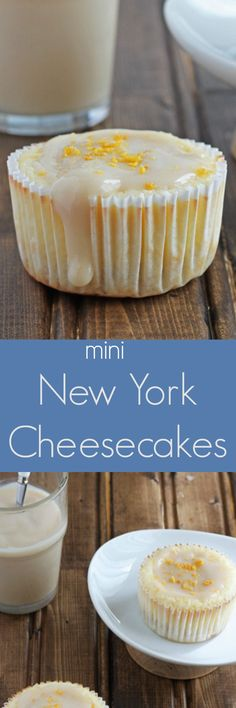 A small batch of cheesecakes made in a muffin tin. Brown sugar sour cream sauce makes them 'New York' style.