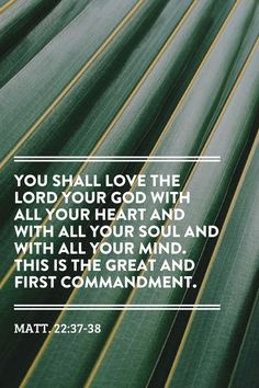 You shall love the Lord your God with all your heart and with all your soul and with all your mind. This is the great and first commandment. Matt. 22:37-38 #Bible #Verse #Scripture quoted at www.agodman.com