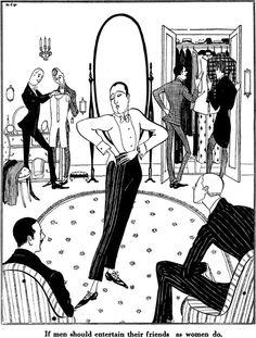 Puck Magazine Illustration Gays flashback fashion Art 1917.