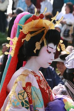 Oiran with falling hair and kanoko
