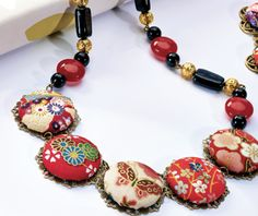Silk Road - use fabric and cover buttons to create an Eastern themed necklace and matching jewellery