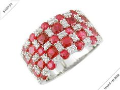 Women's Diamond & Ruby Ring in 14K White Gold (3.55 ctw)