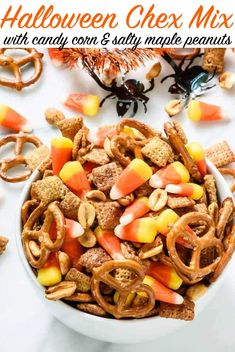Salty and sweet Halloween Chex Mix with salted maple-roasted peanuts and candy corn. Great for Halloween parties and trick-or-treaters! #halloween #dairyfree #vegetarian #snack @wellplated