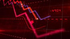Stock markets down dynamic chart on dynamic red background. Concept of financial stagnation, recession, crisis, business crash and economic collapse. Video Clip, Hd Video, Moving Backgrounds, Financial Quotes, Global Stock Market, Laser Show, Holography, Global Stocks, Backgrounds