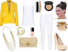 """Bright yellow blazer"" by yolicakes on Polyvore"