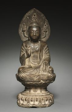 Amida Buddha China, Sui dynasty Limestone with traces of polychromy Lotus Buddha, Art Buddha, Buddha Zen, Buddha Buddhism, Buddhist Art, Buddhist Teachings, Buddha Statues, Buddha Meditation, Angel Statues