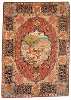 Persian Tabriz rug, a large medallion with shepherds, goats, a dog, birds, trees and buildings in a landscape.