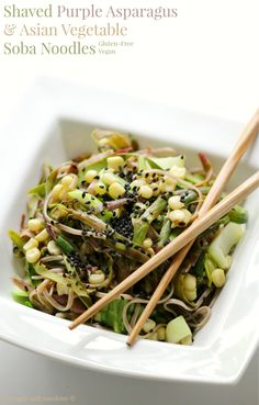 A beautiful shaved purple asparagus & Asian vegetable soba noodle recipe that's gluten-free & vegan. Elegance & freshness in a bowl makes the perfect meal!