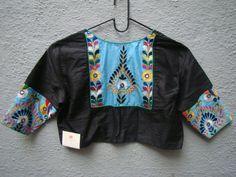 Black Kutch Work Blouse from House of Taamara Traditional Blouse Designs, Fancy Blouse Designs, Blouse Neck Designs, Blouse Patterns, Kutch Work Designs, Work Blouse, Jai Ganesh, Navratri Dress, Lehnga Dress