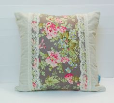 Linen and Lace Patchwork Pillow Cover Shabby Chic by stitchbyzura