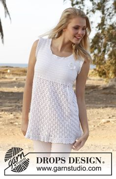 "Crochet DROPS tunic with lace pattern, flounce at the bottom and butterfly for decoration in ""Cotton Viscose"". ~ DROPS Design"