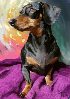 Frida by Ishyo on DeviantArt Dachshund Art, Dachshund Puppies, Pet Dogs, Dogs And Puppies, Weiner Dogs, Dachshunds, Tatoo Dog, Black And Tan Dachshund, Dog Illustration
