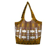 """Betz White Smile & Wave Tote made with Spoonflower designs on Sprout Patterns. This #SAGE collaboration features GargoyleSentry's """"Gold and Diamonds"""", Zandloopster's """"Mosaic"""" and Chinaberries Studio's """"Grinning Kitty"""""""
