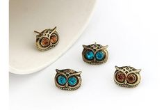 ER019  4 color Girl fashion Trendy Personality Cute Vintage Big Eye Owl Crystal Stud Earrings for women jewelry accessories