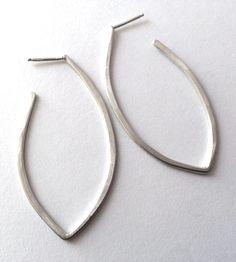 Silver Leaf Hoop Earrings