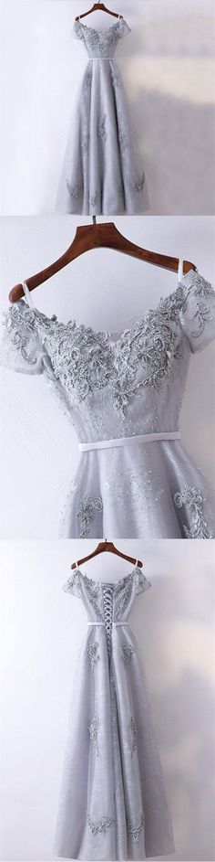 New Arrival Formal High Quality Prom Dresses, A-line Grey Short Sleeves Bridesmaid Dresses, PD0458 #shortpromdresses