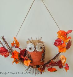 Recycled Bottle Owl on a twig wreath