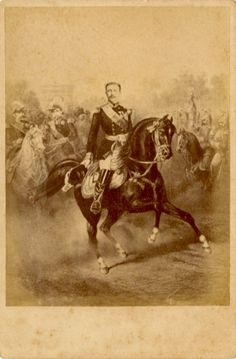 Unusual Bonapartists 19c card, showing the Prince Imperial as Napoleon iv back in Paris